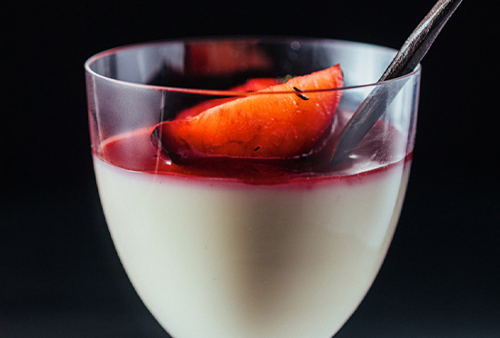image for Lavender Panna Cotta & Roasted Plum Coulis